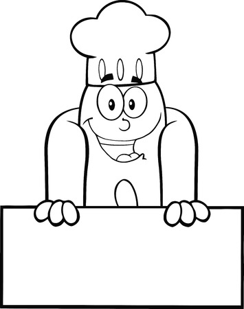 Black And White Happy Hot Dog Chef Cartoon Mascot Character Over Blank Sign Stock Illustratie