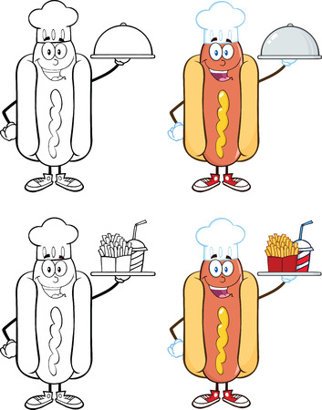 Hot Dog Cartoon Mascot Characters 5  Collection Set Vector