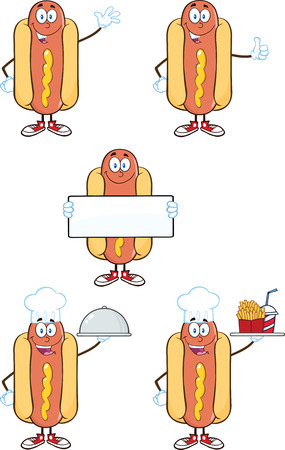 american food: Hot Dog Cartoon Mascot Characters 2  Collection Set