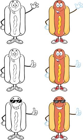 Hot Dog Cartoon Mascot Characters 7  Collection Set Stock Vector - 25777322