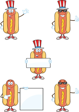 Hot Dog Cartoon Mascot Characters 1  Collection Set Vector
