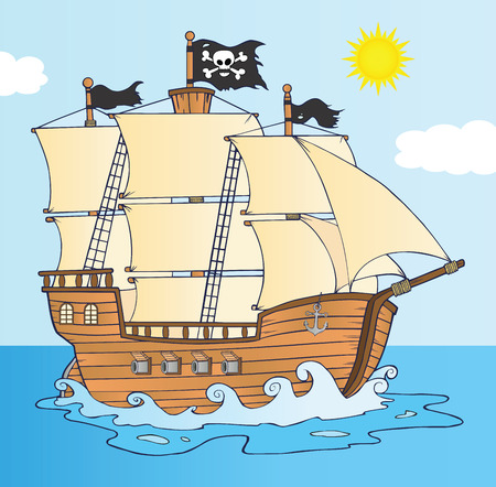 barco pirata: Barco pirata vela Bajo Jolly Roger Flag Vectores