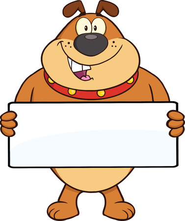 Brown Bulldog Cartoon Mascot Character Holding A Banner  Illustration Isolated on white Vector