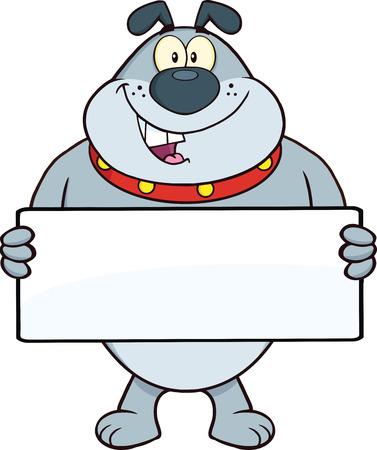 Gray Bulldog Cartoon Mascot Character Holding A Banner  Illustration Isolated on white