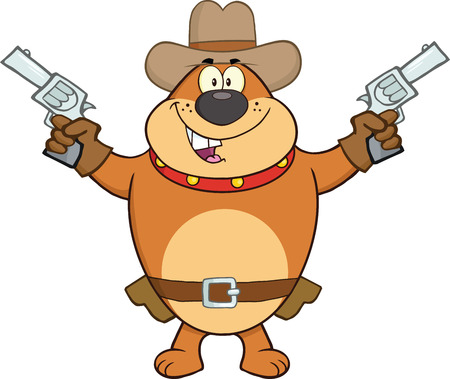 Brown Bulldog Cowboy Cartoon Character Holding Up Two Revolvers Vector
