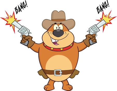 Brown Bulldog Cowboy Cartoon Character Shooting With Two Guns Vector