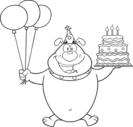Black And White Birthday Bulldog Cartoon Character Holding Up A Birthday Cake With Candles Vector