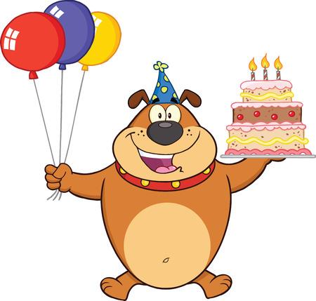 Birthday Brown Bulldog Cartoon Mascot Character Holding Up A Birthday Cake With Candles Stock Vector - 25967875