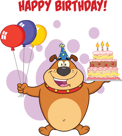 cartoon birthday cake: Happy Birthday Greeting With Brown Bulldog Holding Up A Birthday Cake With Candles