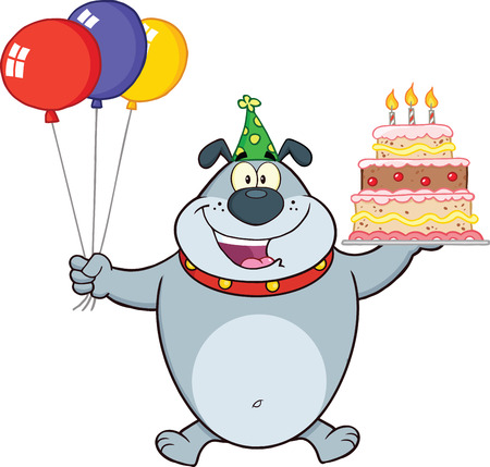 Birthday Gray Bulldog Cartoon Mascot Character Holding Up A Birthday Cake With Candles Stock Vector - 25967878