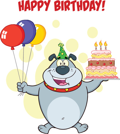 Happy Birthday Greeting With Gray Bulldog Holding Up A Birthday Cake With Candles Vector
