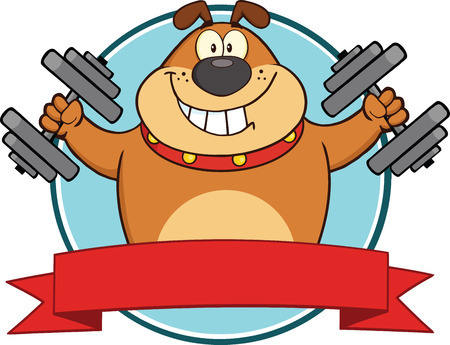 Brown Bulldog With Dumbbells Cartoon Mascot Label  Illustration Isolated on white Vector