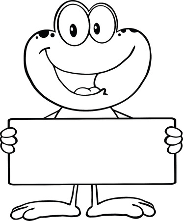 croaking: Black And White Cute Frog Cartoon Mascot Character Holding A Banner  Illustration Isolated on white