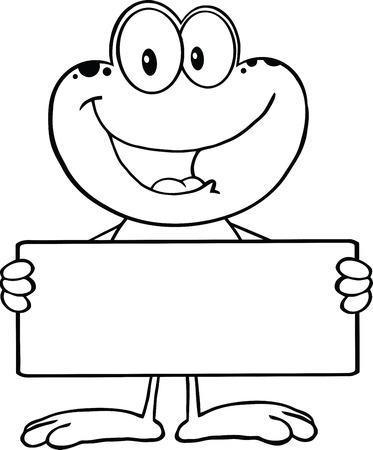 Zwart-wit Leuke Kikker Cartoon Mascot Karakter Holding Een Banner illustratie geïsoleerd op wit Stock Illustratie