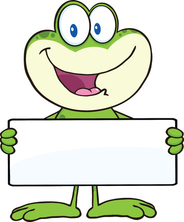 croaking: Cute Frog Cartoon Mascot Character Holding A Banner  Illustration Isolated on white