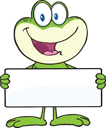 smiling frog: Rana de dibujos animados de la mascota del car�cter lindo Sostiene Una Bandera Ilustraci�n aislado en blanco