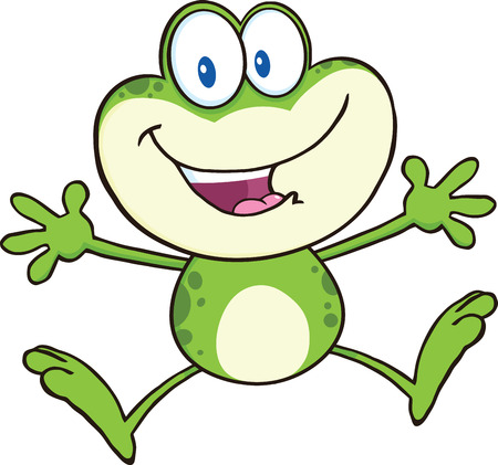 Cute Green Frog Cartoon Mascot Character Jumping  Illustration Isolated on white  イラスト・ベクター素材