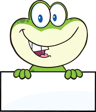 Cute Frog Cartoon Mascot Character Over Blank Sign  Illustration Isolated on white Vector