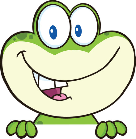 croaking: Cute Green Frog Cartoon Mascot Character Over Blank Sign  Illustration Isolated on white Illustration