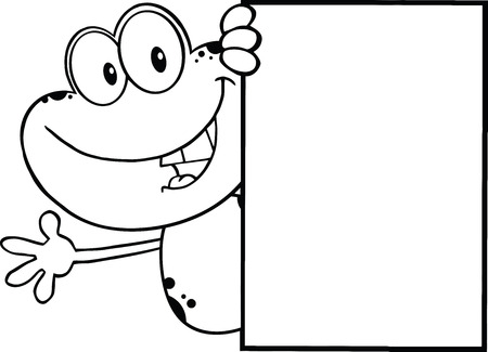 croaking: Black And White Cute Frog Cartoon Character Looking Around A Blank Sign And Waving  Illustration Isolated on white Illustration