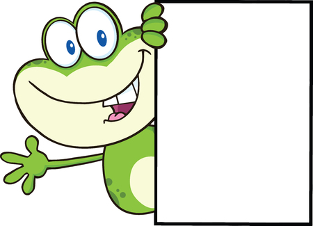 croaking: Cute Frog Cartoon Mascot Character Looking Around A Blank Sign And Waving  Illustration Isolated on white