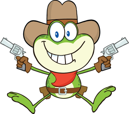Cowboy Frog Cartoon Character Holding Up Two Revolvers Vector