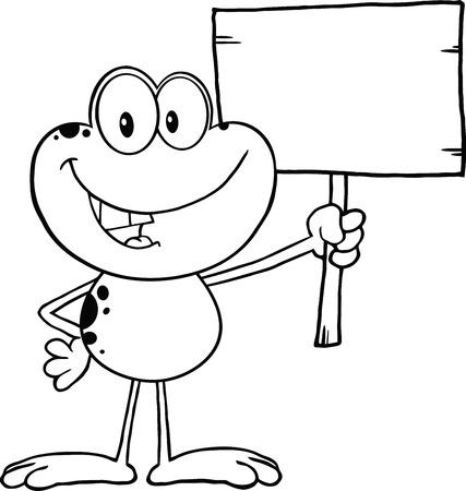 pancarte bois: En noir et blanc mignon personnage de bande dessin�e Grenouille Supportant Un Panneau en bois Illustration