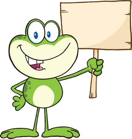 Cute Green Frog Cartoon Character Holding Up A Wood Sign Vector