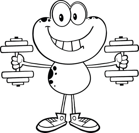croaking: Black And White Smiling Frog Cartoon Mascot Character Training With Dumbbells