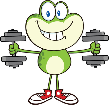 croaking: Smiling Green Frog Cartoon Mascot Character Training With Dumbbells Illustration