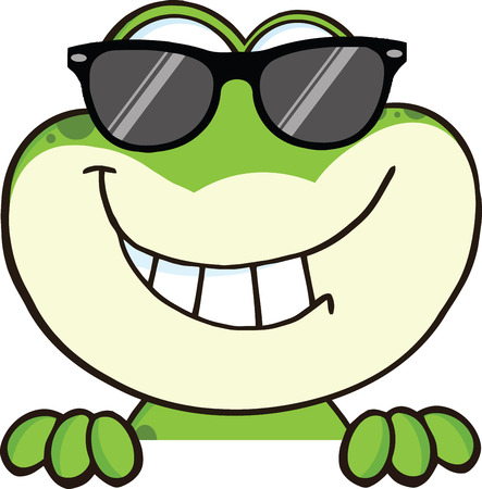 bullfrog: Cute Frog With Sunglasses Cartoon Mascot Character Over Blank Sign Illustration