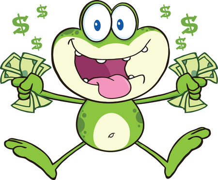 croaking: Crazy Green Frog Cartoon Character Jumping With Cash