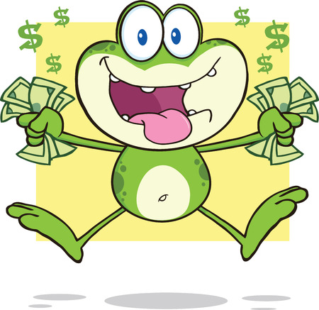 croaking: Crazy Green Frog Cartoon Mascot Character Jumping With Cash Illustration