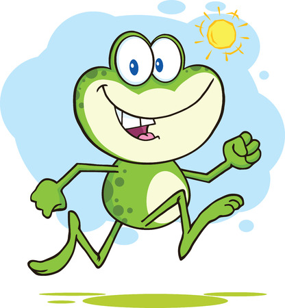 croaking: Cute Green Frog Cartoon Character Running Outdoor  Illustration Isolated on white