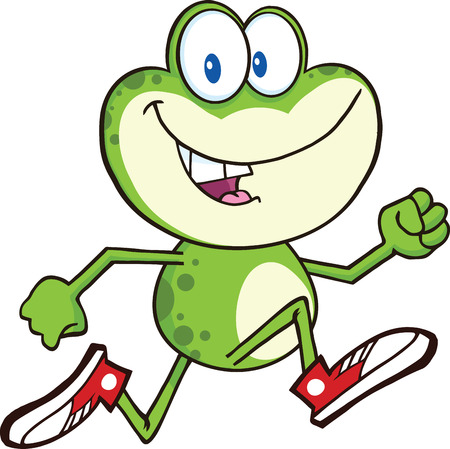 humor jump: Cute Green Frog Cartoon Character Running With Sneakers  Illustration Isolated on white
