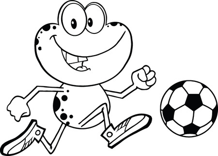 croaking: Black And White Cute Frog Cartoon Character Playing With Soccer Ball  Illustration Isolated on white