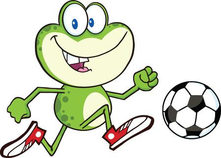 pelota caricatura: Carácter lindo de la rana verde de la historieta juega con el balón de fútbol Ilustración aislado en blanco