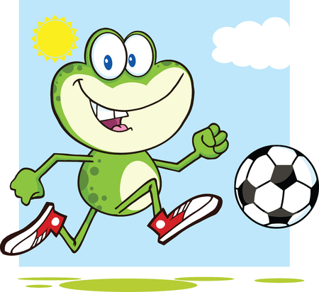 croaking: Cute Green Frog Cartoon Mascot Character Playing With Soccer Ball  Illustration Isolated on white