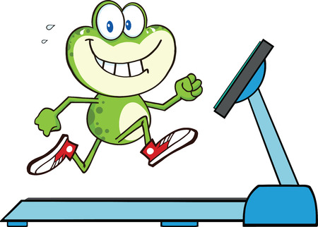 croaking: Healthy Green Frog Running On A Treadmill  Illustration Isolated on white