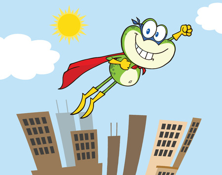 croaking: Frog Cartoon Character Flying Over The City