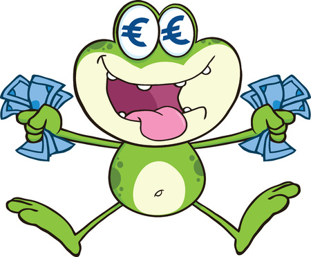 crazy frog: Crazy Green Frog Cartoon Character Jumping With Euro Illustration Isolated on white Illustration