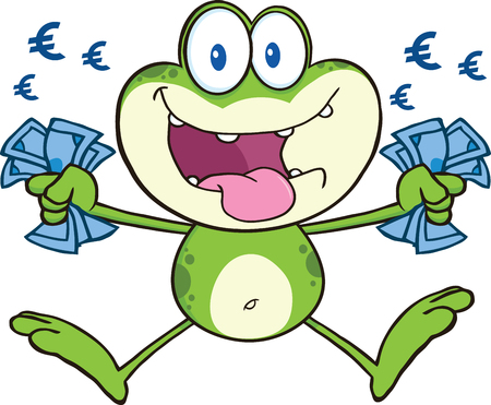 crazy frog: Crazy Green Frog Cartoon Mascot Character Jumping With Euro Illustration Isolated on white Illustration