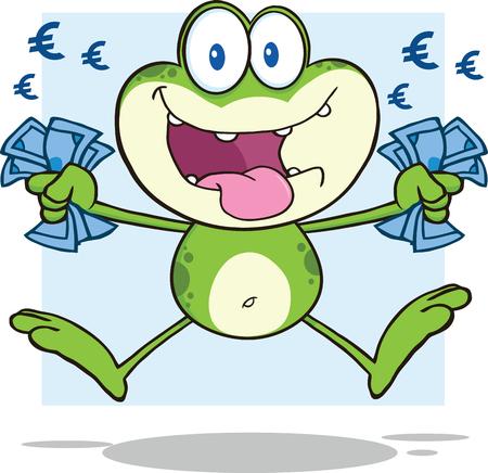 crazy frog: Green Frog Cartoon Mascot Character Jumping With Euro money