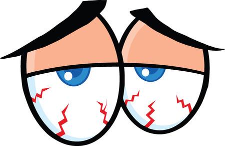 Ejemplo enfermo Ojos de la historieta aislado en blanco Ilustración de vector