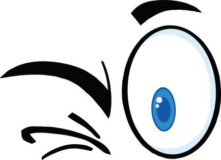 flirty: Winking Cartoon Eyes  Illustration Isolated on white Illustration