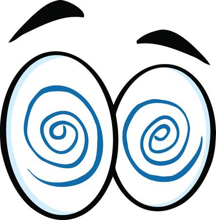 hypnotized: Hypnotized Cartoon Eyes  Illustration Isolated on white