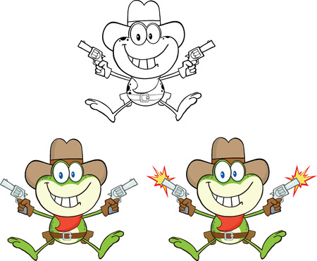 Frog Cartoon Mascot Character 5  Collection Set Vector