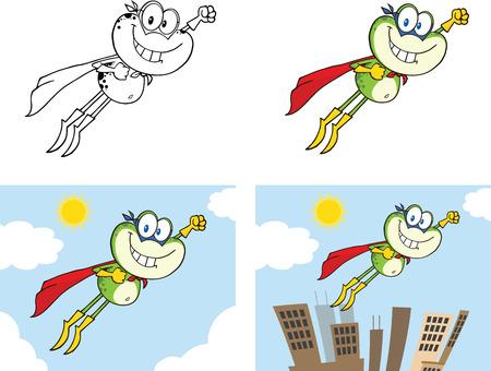 croaking: Frog Cartoon Mascot Character 11  Collection Set Illustration