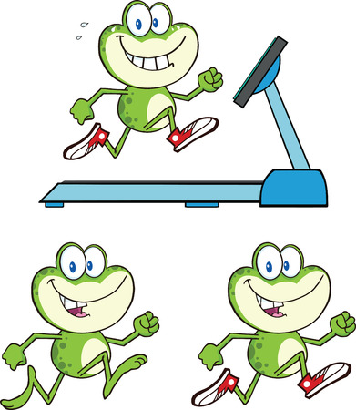 croaking: Frog Cartoon Mascot Character 14  Collection Set Illustration