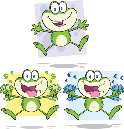 croaking: Frog Cartoon Mascot Character 20  Collection Set Illustration